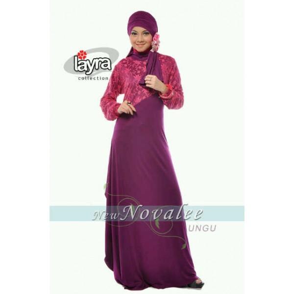Layra New Novallee Ungu Baju Muslim Gamis Modern