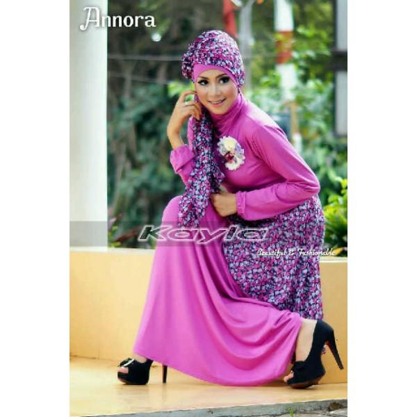 Annora Ungu Baju Muslim Gamis Modern