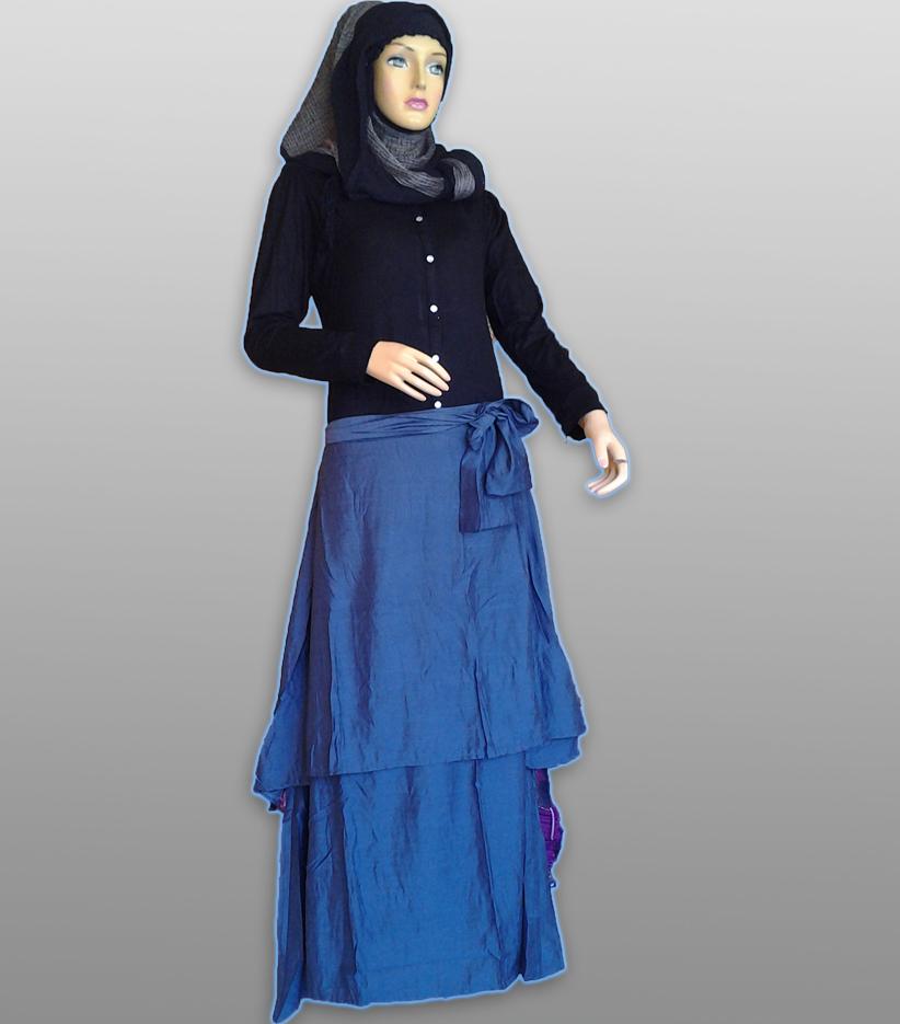 Su Amara Biru Hitam Baju Muslim Gamis Modern
