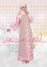 baju pesta muslimah elegan  035 pink-khaki
