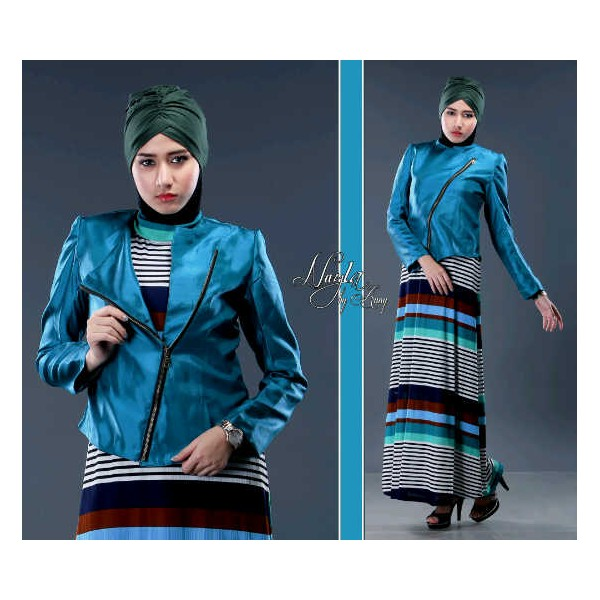 Nayla Luxury Biru Baju Muslim Gamis Modern