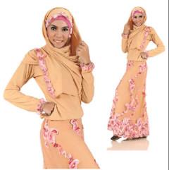 model baju pesta Baju-muslim-elegan-Pusat-Gamis-Terbaru-Madina-Ameera-Coklat