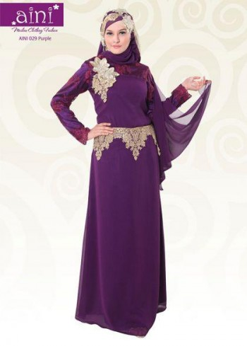 029 purple aini collection busana muslim pesta, baju muslimah pesta