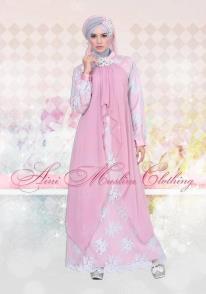 baju muslim fashion terbaru  035 pink-silver, busana muslim aini, gamis artis pesta, gaun pesta muslim