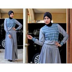Evelynne Biru busana gamis hijab, terbaru