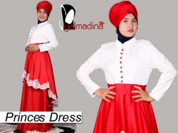 Syalmadina Princes merah busana muslimah pesta, gaun pesta muslim
