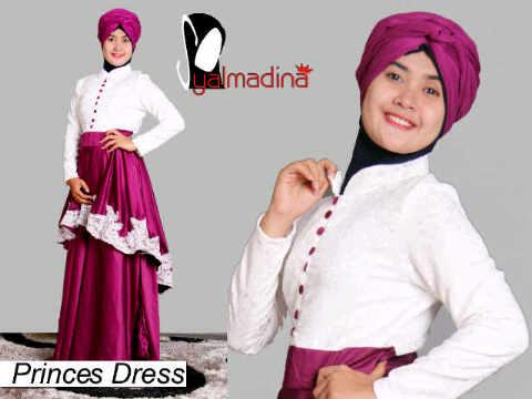 Syalmadina Princes ungu gaun muslim pesta, gaun muslimah terkini