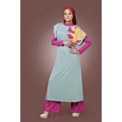 aqila dusty pink-hijau step up arlene, agen baju muslim, suplier busana muslimah
