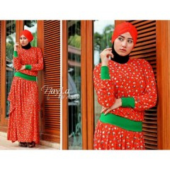 bloemen orange nayla collection, busana muslim gaun muslimah terbaru