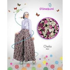 chelia lilac orimegumi, baju ahan kaos, baju muslimah plus pasmina