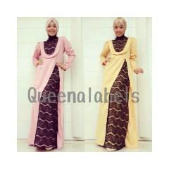 dusty pink kuning queena labels, busan muslim terkini kaos