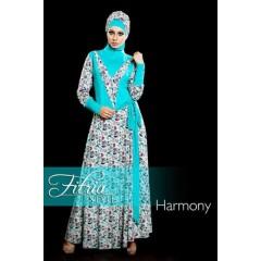harmony biru fitria style, busana muslimah terbaru, baju muslim modern