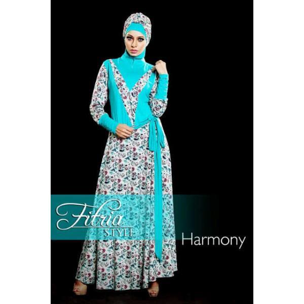 Harmony Biru Baju Muslim Gamis Modern