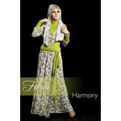 harmony hijau fitria style, baju muslim trendy, busana muslimah terbaru