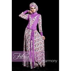 harmony ungu fitria style, gamis kaos terbaru, busana muslim pesta