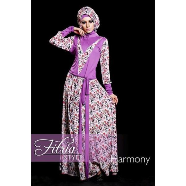 Harmony Ungu Baju Muslim Gamis Modern