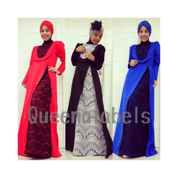 Q Delacy Hitam Baju Muslim Gamis Modern