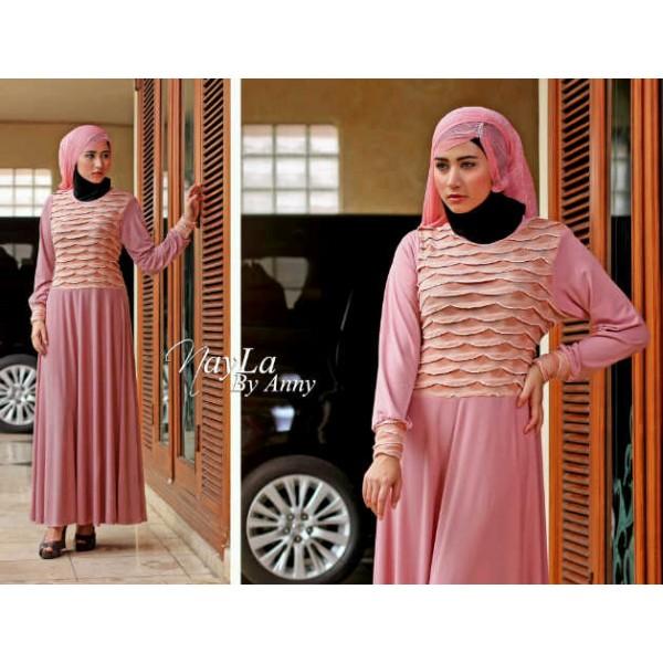 Nayla Beferly Pink Baju Muslim Gamis Modern