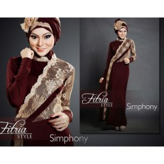 simphony coklat fitria style, busana muslim pesta, gamis modern