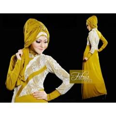 simphony kuning fitria style, gamis muslimah terbaru