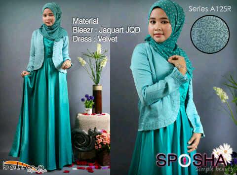 B Sposha 2 Hijau T Baju Muslim Gamis Modern
