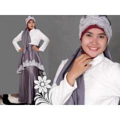 syalmadina princes abu, busana muslimah syalmadina princes dress 2 abu-abu