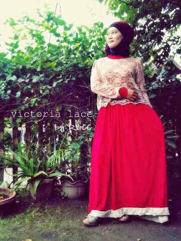 Victoria L Merah Putih Baju Muslim Gamis Modern