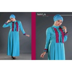 nayla victory biru, suplier nayla, suplier gamis, busana muslim modern