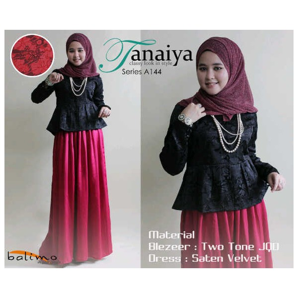 B Tanaiya Hitam Baju Muslim Gamis Modern
