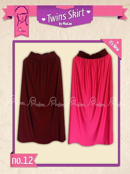 Twins Skirt MiuLan 12. Maroon - Fushia