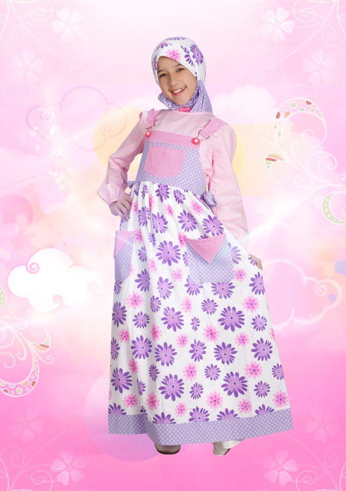 Aini Kids 120903 Purple Baju Muslim Gamis Modern