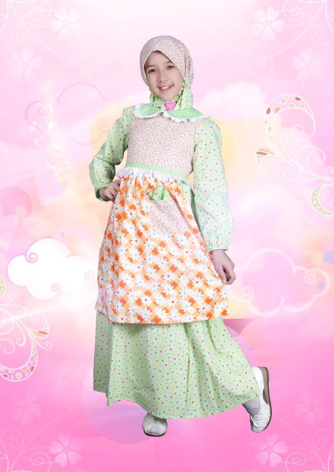 Aini Kids 120906 Hijau Baju Muslim Gamis Modern