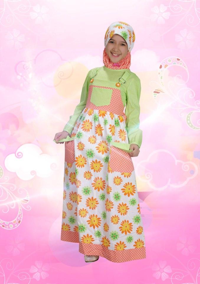 Aini Kids 120903 Hijau Baju Muslim Gamis Modern