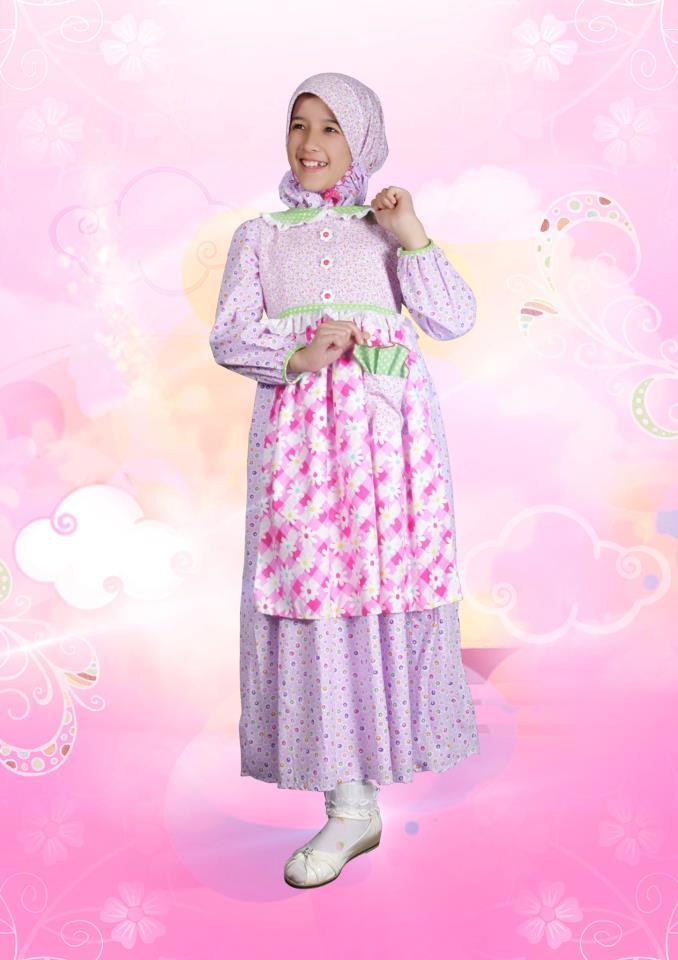 Aini Kids 120906 Purple Baju Muslim Gamis Modern