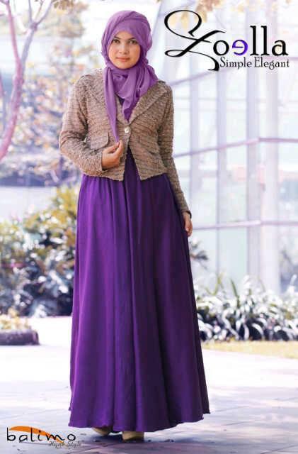 Zoella 3 Ungu Baju Muslim Gamis Modern