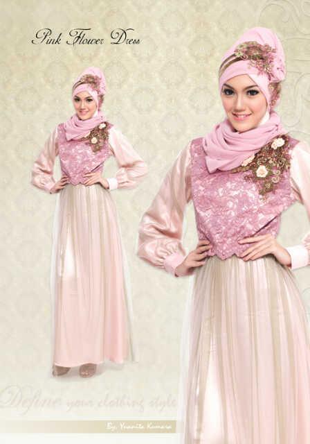 Define Flower Pink Baju Muslim Gamis Modern