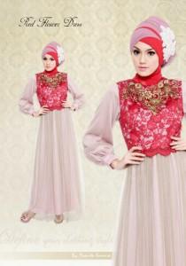 gaun pesta muslimah elegan  Define Red Flower