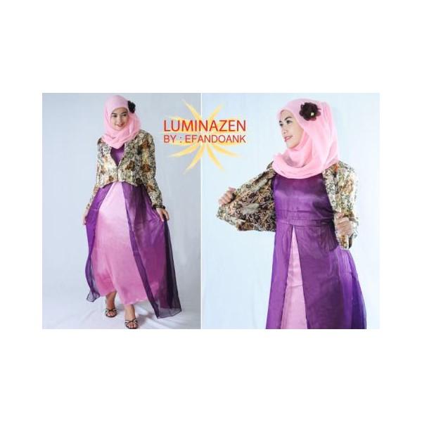 Luminazen Purple Baju Muslim Gamis Modern
