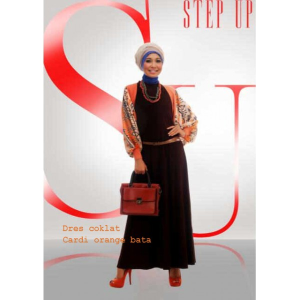 Step up LIMOZEIN orange bata dress coklat