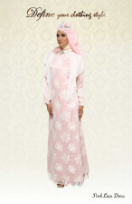 aini Pink Lace Dress