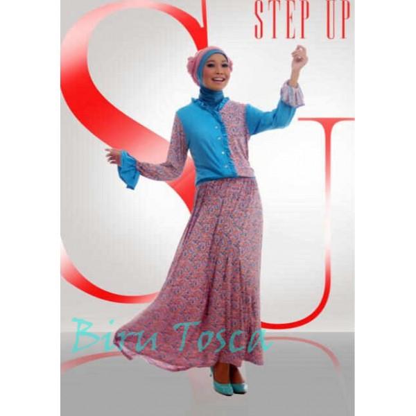 Step up bella biru tosca baju muslim gamis modern Baju gamis model najwa