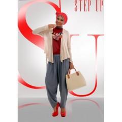 Busana Hijabers Step up Arvina Cardi Krem,baju muslim,step up,gamis terbaru