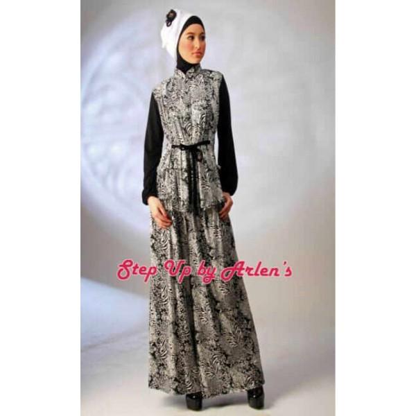 Striponiz Hitam Baju Muslim Gamis Modern