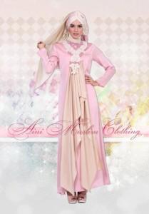 baju muslim modern terbaru Pusat-Gamis-Terbaru-Define 037-Pink