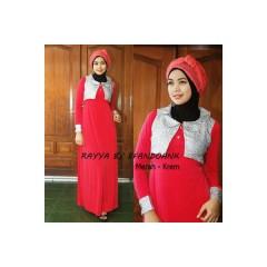 baju muslimah modern dan modis  Rayya by Evan doank Merah crem