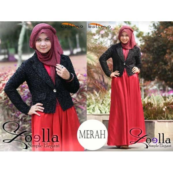 B Zoella 4 Merah Baju Muslim Gamis Modern