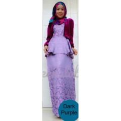 busana gamis pesta terbaru JOANA By Queena Purple