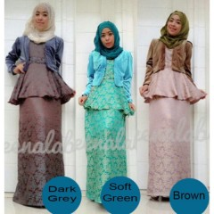 gaya busana elegan JOANA By Queena dark soft green brown
