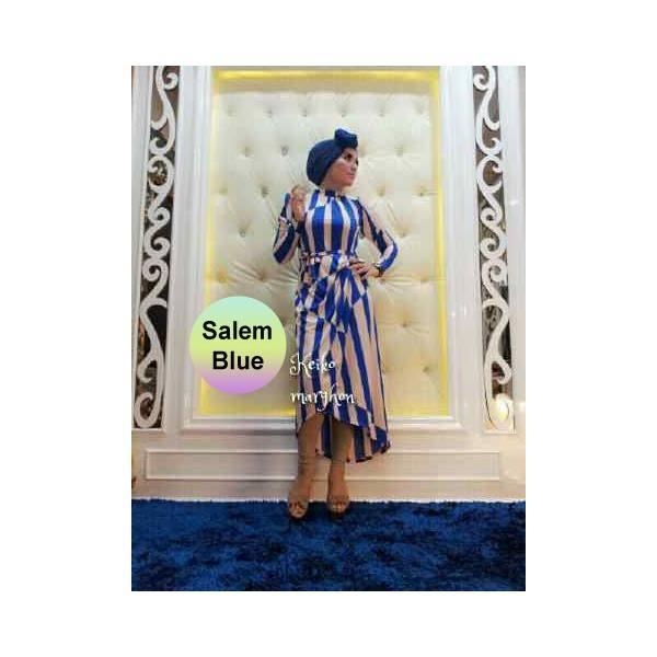 New Victoria Sal Blue Baju Muslim Gamis Modern