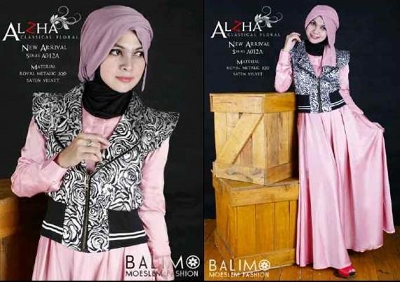 Alzha Soft Pink Baju Muslim Gamis Modern